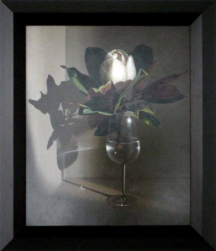 """Magnolia en la Copa de Vino"" (""Magnolia Flower in Wine Glass"") ANTONIO BLANCA SANCHEZ - Oil on Canvas - 20"" x 16"""